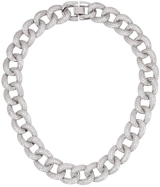 Fallon Armure pave rhodium-plated chain necklace