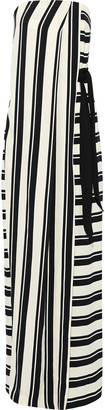 Halston Strapless Wrap-effect Striped Crepe Gown