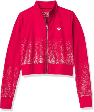True Religion Women's Ombre Glitter Cropped Performance Zip Up Top