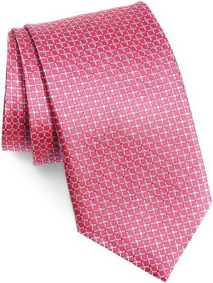 David Donahue Check Silk X-Long Tie