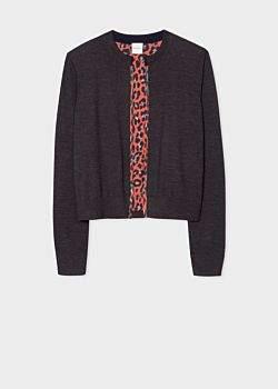 Women's Dark Grey Wool Cardigan With 'Leopard' Print Lining