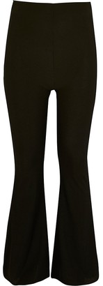 River Island Girls black ribbed kickflare trousers