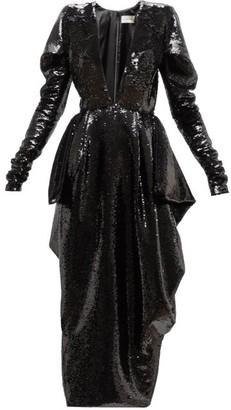 Alexandre Vauthier Plunge-neck Sequinned Dress - Womens - Black