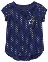 Gymboree Navy Dot Slub Knit Sequin Embroidery Hi-Low Tee - Girls