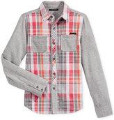 Sean John Woven Plaid Shirt, Big Boys (8-20)