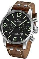 TW Steel Men's 'Maverick' Quartz Stainless Steel and Leather Casual Watch