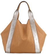 Brunello Cucinelli Reversible Metallic Leather Tote Bag, Silver
