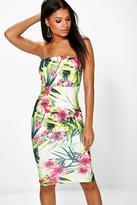Boohoo Megan Tropical Print Bandeau Midi Bodycon Dress