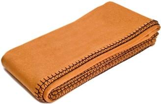 Eliská Cashmere Throw - Rust With Black Blanket Stitching