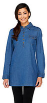 As Is Denim & Co. Petite Stretch Denim Tunic w/ Pockets