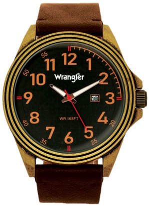 Wrangler Men, 48MM Antique Brass Case, Black Dial, Bronze Arabic Numerals, Black Strap, Analog Watch with Red Second Hand, Date Function