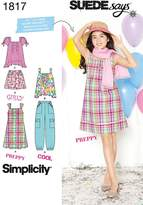 Simplicity 1817 Girls and Girls Plus Sportswear by Suedesays Sewing Pattern, Size BB (8 1/2-16 1/2)