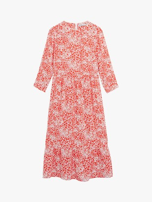 Oasis Heart Print Midi Dress, Red/Multi