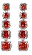 A&M A & M Silver-Tone Ruby Accent Princess Cut Earrings