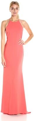 Badgley Mischka Women's Stretch Crepe Halter Gown