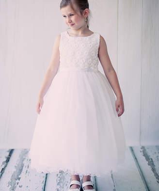 Kid's Dream Girls' Special Occasion Dresses white - White Floral Tulle Communion Dress - Toddler & Girls