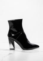Missy Empire Tarrah Black Patent Pointed Block Heel Boots