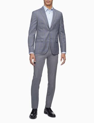 Calvin Klein Slim Fit Grey Plaid Notch Lapel Jacket