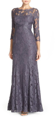 Adrianna Papell Illusion Yoke Lace Gown