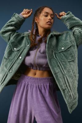 Urban Outfitters Jana Corduroy Trucker Jacket - Green XS at