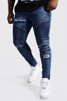 boohoo Mens Big And Tall Blue Skinny Fit Ripped Biker Jeans, Blue