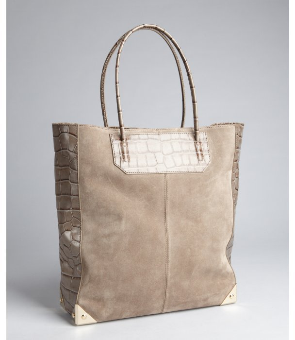 Alexander Wang horn brown suede and croc embossed leather 'Prisma' shopper tote