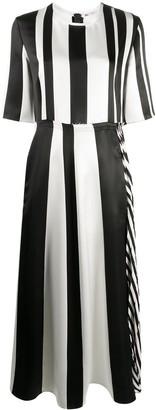 Ports 1961 Raw-Edge Striped Satin Midi Dress