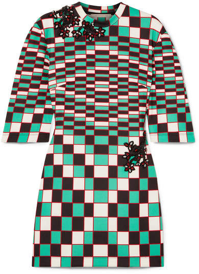 Christopher Kane Embellished Checked Stretch-scuba Mini Dress - Forest green