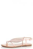 Quiz Pink Diamante Leaf Strap Sandals