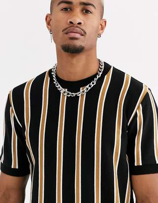 Topman vertical striped knitted crewneck in black
