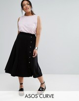 Asos Midi Skirt with Asymmetric Poppers