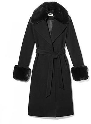MICHAEL Michael Kors Wool Wrap Coat With Faux Fur