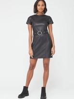 Very Short Sleeve PU Belted Dress - Black