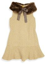 Imoga Toddler's, Little Girl's & Girl's Penelope Two-Piece Printed Dress & Faux Fur Collar Set