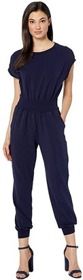 Rebecca Taylor Sleeveless French Terry Jumpsuit (Midnight Navy) Women's Jumpsuit & Rompers One Piece