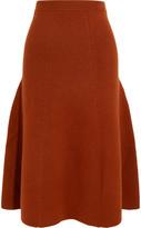 Joseph Ribbed Wool-blend Midi Skirt - Brown