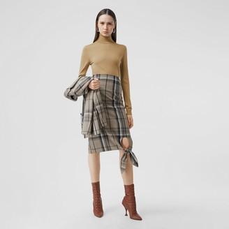Burberry Two-tone Merino Wool Silk Roll-neck Sweater