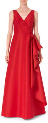 Carolina Herrera Icon Silk Cascading V-Neck Gown