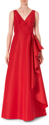 Carolina Herrera Icon Silk Cascading V-Neck Gown