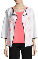 Misook Bamboo-Print 3/4-Sleeve Jacket, Plus Size