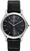 Emporio Armani Swiss Made Men's Quartz Stainless Steel and Leather Dress Watch, Color:Brown (Model: ARS2000)