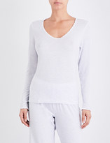 The White Company Pinstripe lace-trim pyjama top