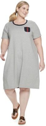 Chaps Plus Size Short Sleeve T-Shirt Dress