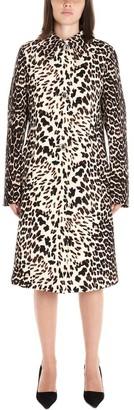 Prada Leopard Print Single Breasted Trench Coat