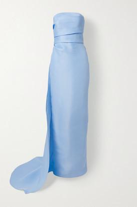 Monique Lhuillier Strapless Draped Silk-gazar Gown - Light blue