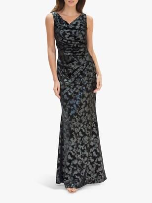 Gina Bacconi Devin Metallic Velvet Maxi Dress, Black/Silver