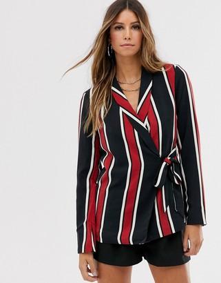 Vila stripe wrap suit blazer