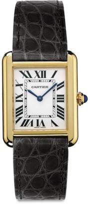 Cartier Tank Solo Small 18K Yellow Gold & Black Alligator-Strap Watch