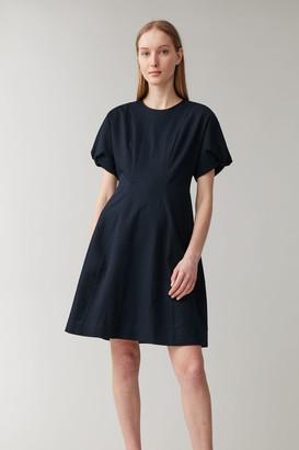 Cos Cotton Puff Sleeve Seersucker Dress