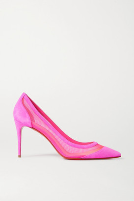 Christian Louboutin Galativi 85 Neon Suede And Mesh Pumps - Pink